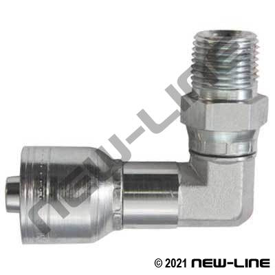 1A Crimp X Male NPT Light Duty Swivel 90°
