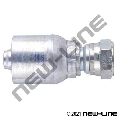 1E Crimp X Female BSPP Straight Swivel Coupling