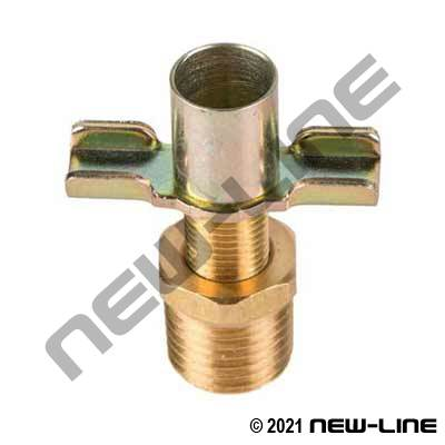 Male NPT Brass Drain Cock Back Seating with Hose Bib