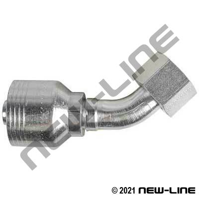 4S Crimp Coupling x Female ORFS Swivel 45°