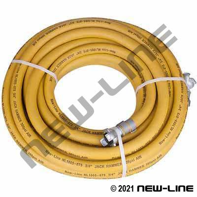 Yellow Jackhammer Hose Assembly with N32 Universals