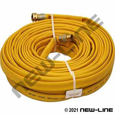 Yellow Layflat Hose/MxF NPS Thread Ends - Water Service Only