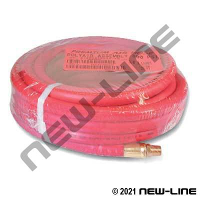 Red Polyair Hose with Crimped Male NPT