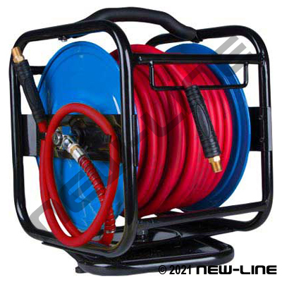 Portable Air Hose Reel with Red Serpent Hose