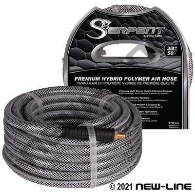 Silver Low-Temp Serpent Air Hose/Crimp MNPT & Bend Restrict