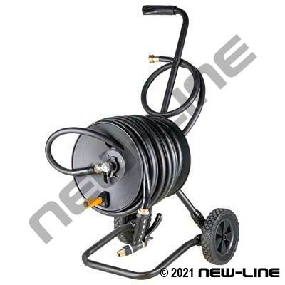 Black Serpent GardenHose on Cart Reel/Caddy/Nozzle(Complete)