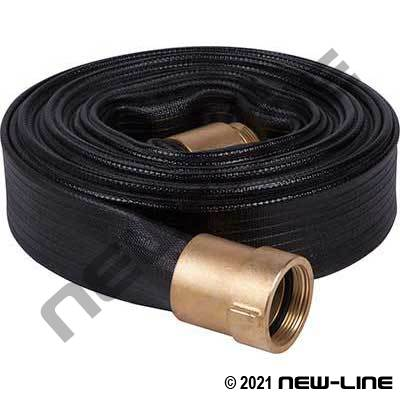 Black Ribbed Rubber Water Discharge Hose with Brass BAT Ends
