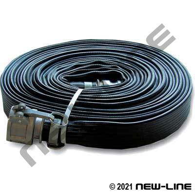 Black Ribbed Rubber Water Discharge Hose with MxF Camlocks