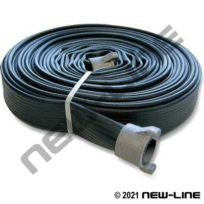 Black Ribbed Rubber Water Discharge Hose with Instantaneous Forestry Ends