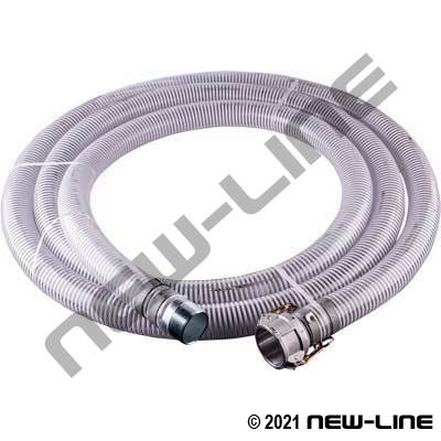 20Ft Clear PVC Transfer Hose with Female Camlock X MNPT