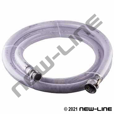 20Ft Clear PVC Transfer Hose with Female X Male Camlocks
