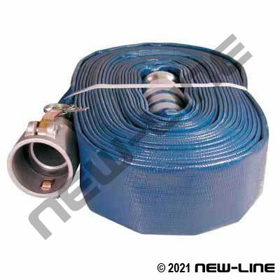 Blue PVC Layflat Hose with Female x Male Camlocks
