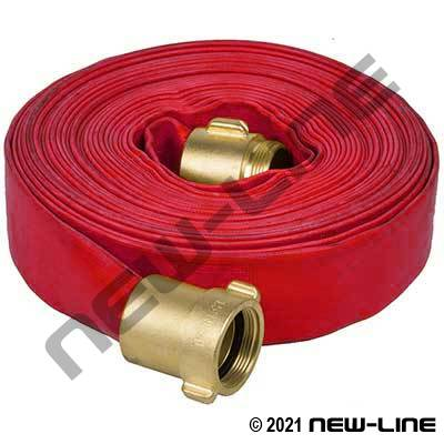 Red SF-50 PVC Water Discharge Hose with Brass Threaded Ends - 150 PSI