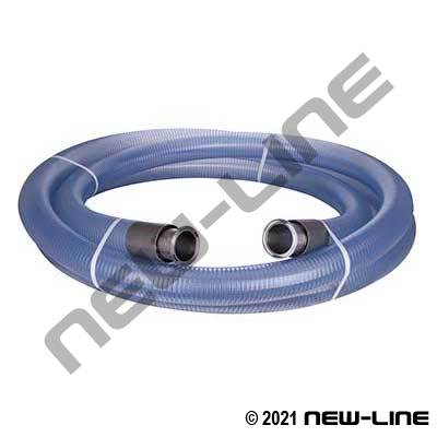 All Clear Tigerflex FT Smooth PVC Food Transfer Hose with Crimped Tri-Clamp Ends