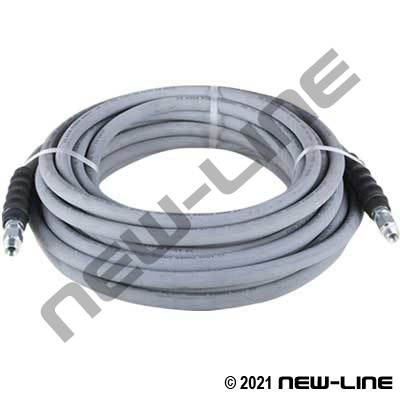 Grey Pressure Washer Hose/Solid X Swivel MNPT Ends - 4000PSI