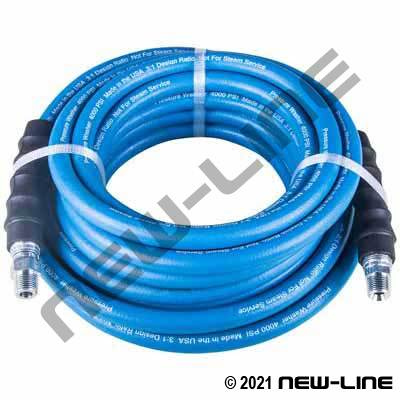 Blue Smooth Washer Hose with Solid x Swivel - 4000 PSI