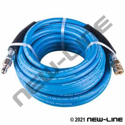 Blue Smooth Washer Hose/Solid X Swivel & QDs - 4000 PSI