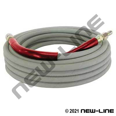 Grey Pressure Washer Hose with Quick Connects - 6000 PSI