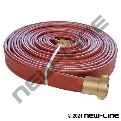 Red Ribbed Rubber FM & UL Approved Armtex Fire Hose with Brass Threaded Ends