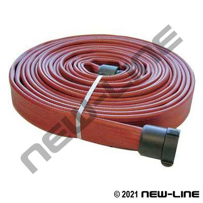 Red Ribbed Rubber FM & UL Approved Armtex Fire Hose with Hardcoat Aluminum Threaded Ends