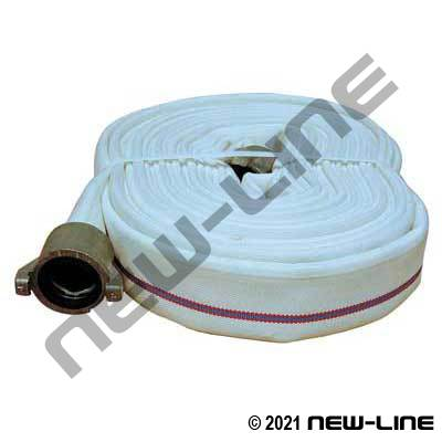 White Double Jacket Brigade Fire Hose (Urethane Tube) with Instantaneous Forestry Ends