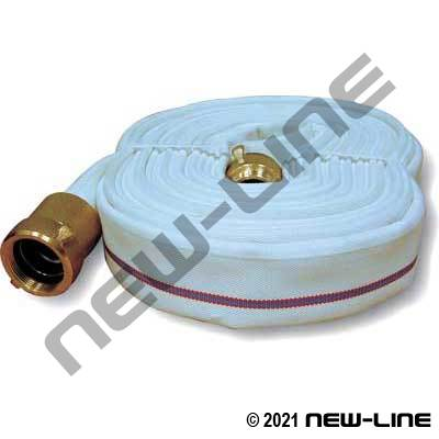 White Double Jacket Brigade Fire Hose (Urethane Tube) with Brass Threaded Ends