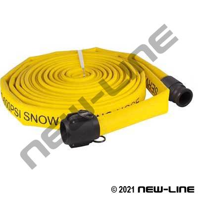 Yellow Double Jacket Snow Blowing Hose with Hardcoat Aluminum C X E Camlock Ends