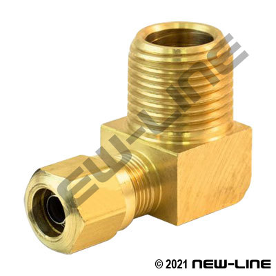 Brass Tube X Male NPT 90° Long Elbow For Nylon DOT Tubing
