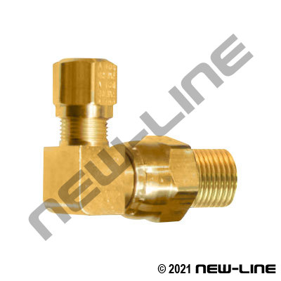 Brass Tube Swivel X Male NPT 90° Elbow For Nylon DOT Tubing