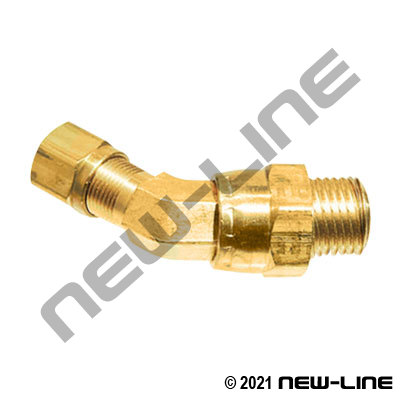 Brass Tube Swivel X Male NPT 45° Elbow For Nylon DOT Tubing