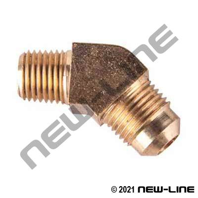 37° JIC Brass Tube x Male NPT - 45° Bend