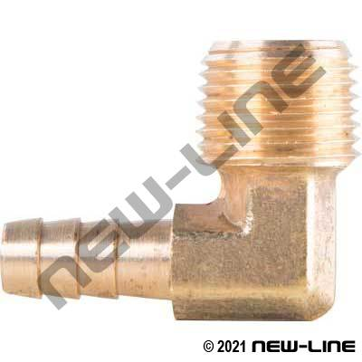 Brass 90° Barb x Male NPT