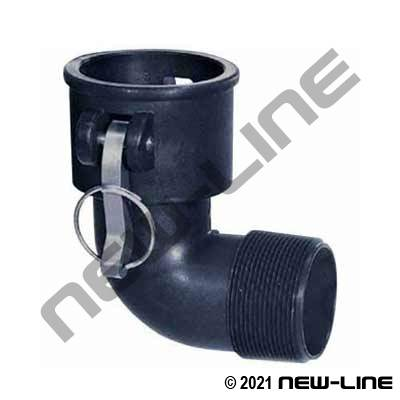 Polypropylene 90° Female Camlock x Male NPT