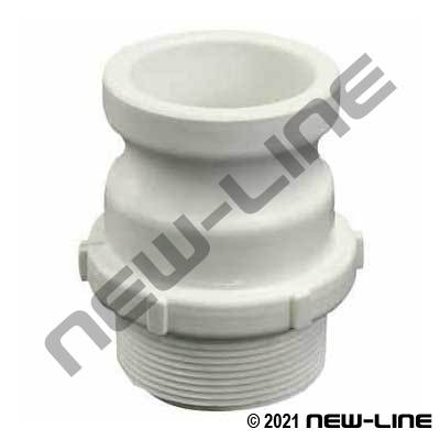 White Polypropylene Part F Camlock - Male NPT Adapter