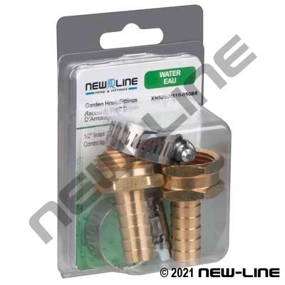 Brass Garden Hose Thread Stem Combo with Clamp - Retail Pack