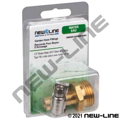 Brass Male Garden Hose Thread Stem and Clamp - Retail Pack