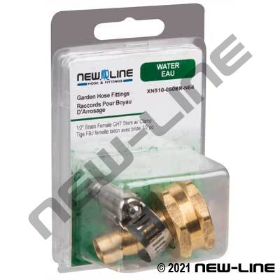 Brass Female Garden Hose Thread Stem and Clamp - Retail Pack
