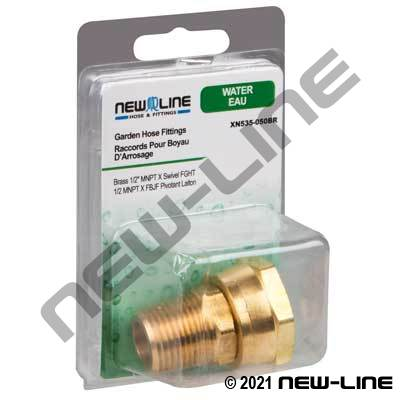 Brass Male NPT x Swivel Female GHT - Retail Packaging