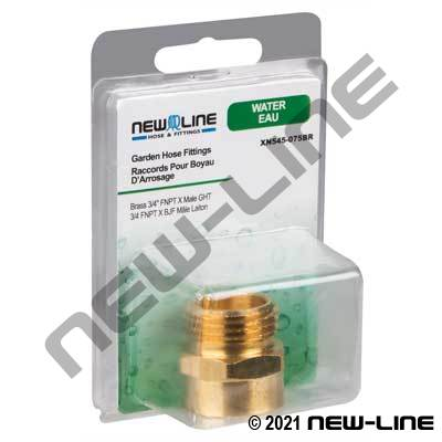 Brass Female NPT x Male GHT - Retail Packaging