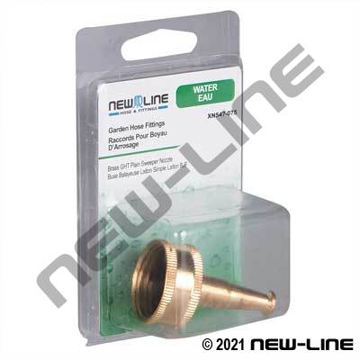 Brass Garden Hose Thread Plain Sweeper Nozzle - Retail Pack