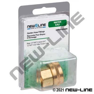 Brass Female NPT x Swivel GHT - Retail Packaging
