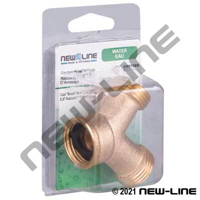 Cast Brass Garden Hose Thread Y Coupling - Retail Packaging