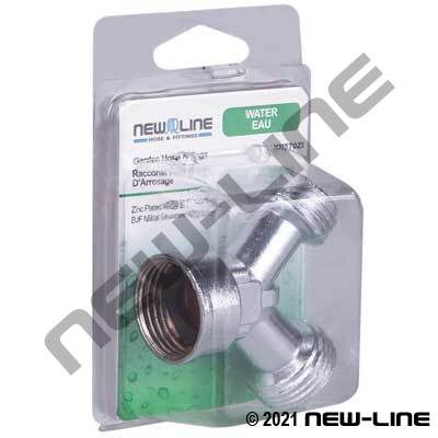Zinc Plated Metal Garden Hose Thread Y Coupling - Retail Pck