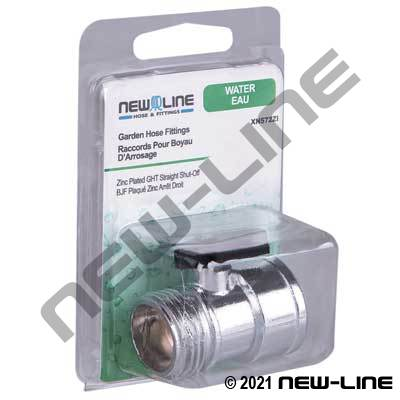 Zinc Plated Garden Hose Thread Straight Shut-Off - Retail