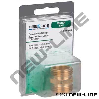 Brass Male GHT x Male GHT Solid - Retail Packaging