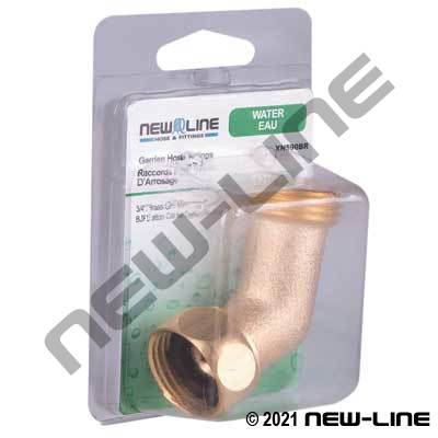 Brass Garden Hose Thread Gooseneck - Retail Packaging