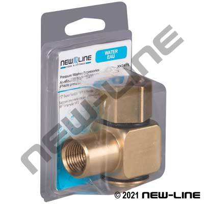 Express Pack Brass Female NPT x Female NPT 90° Live Swivel
