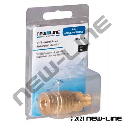 Brass Industrial Interchange Coupler x MNPT - Retail Package