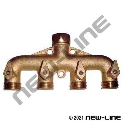 Brass Garden Hose Thread Manifold (4 Outlets)