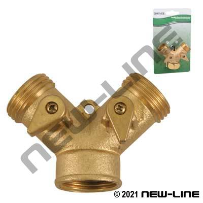 Brass Garden Hose Thread Y with Dual Shut-Off